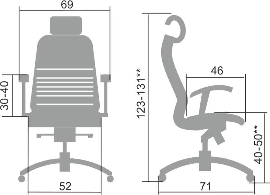 Размеры кресла Samurai K-3.04