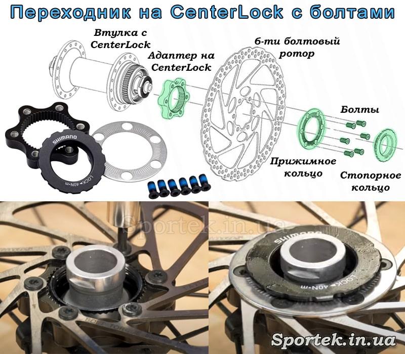 Переходник с втулки CenterLock на 6 болтовый ротор с болтами