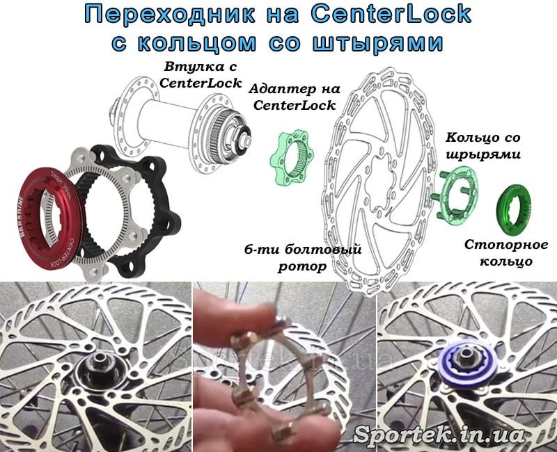 Переходник с втулки CenterLock на 6 болтовый ротор с кольцом со штырями
