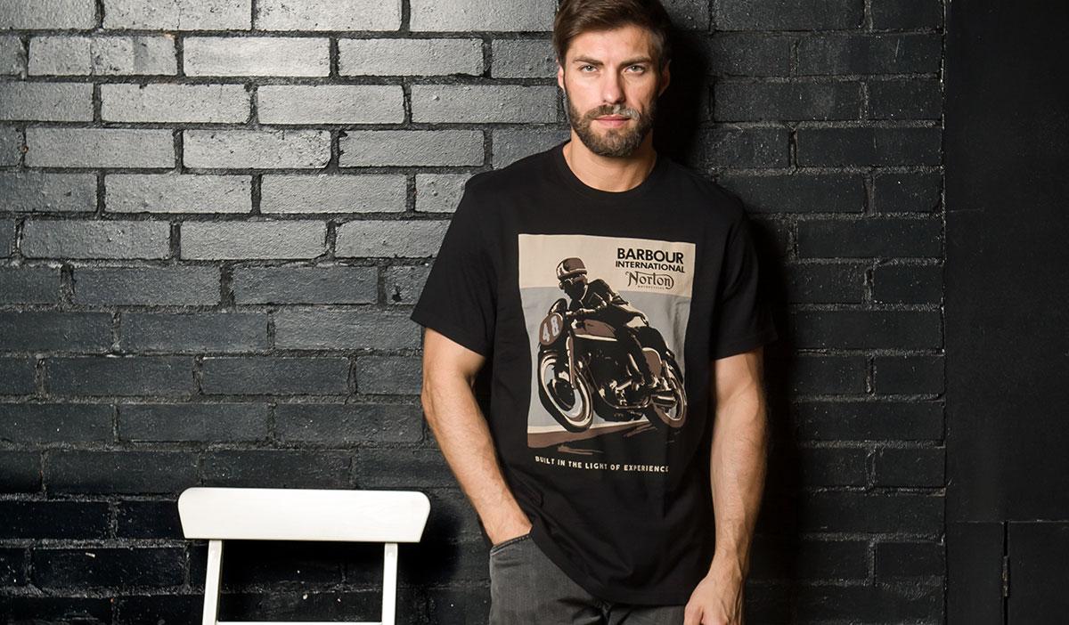 Мужская футболка с принтом Barbour International