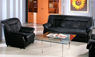 Кожаный диван и кресло Сиеста
