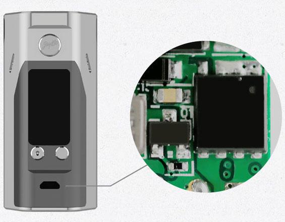 Защита от обратной полярности батареект эффективно достигается за счёт применения специальной обратной цепи в микросхеме Reuleaux RX200S