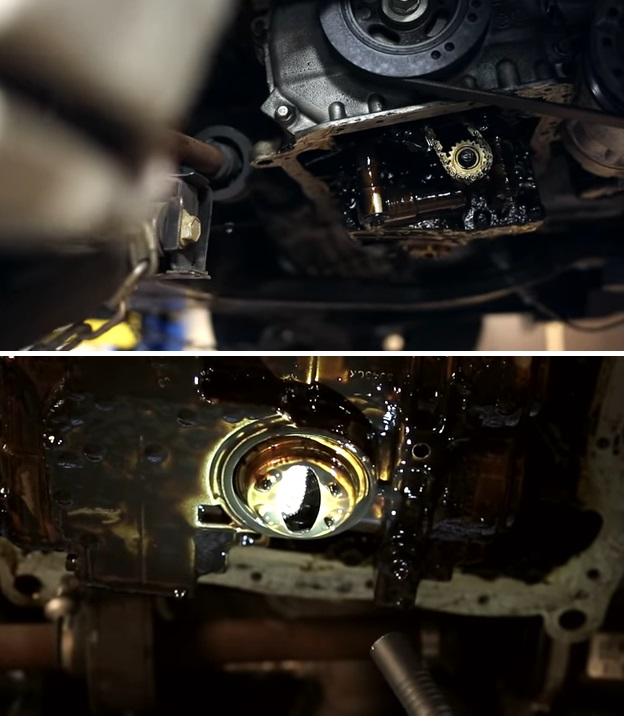 Грязный маслоприемник в нижней части двигателя