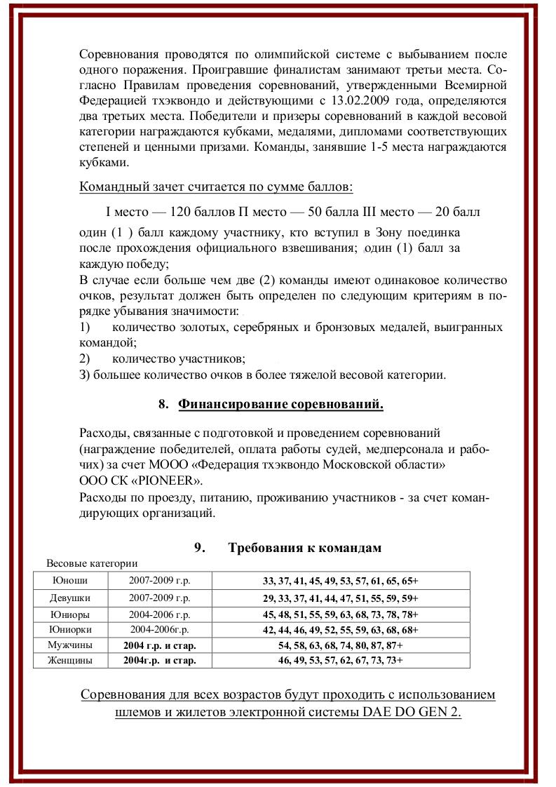 """Турнир по тхэквондо ВТ """"Битва в Подмосковье"""". Лист 5."""