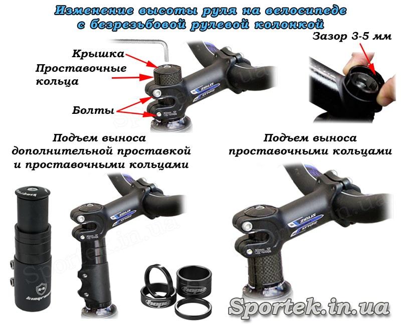 Изменение высоты руля на велосипеде с безрезьбовой рулевой колонкой