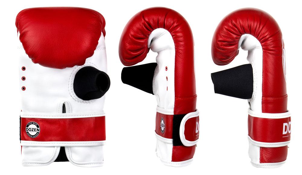 Снарядные перчаткик Dozen Fight Gear красные доворот конструкции и анатомическая форма