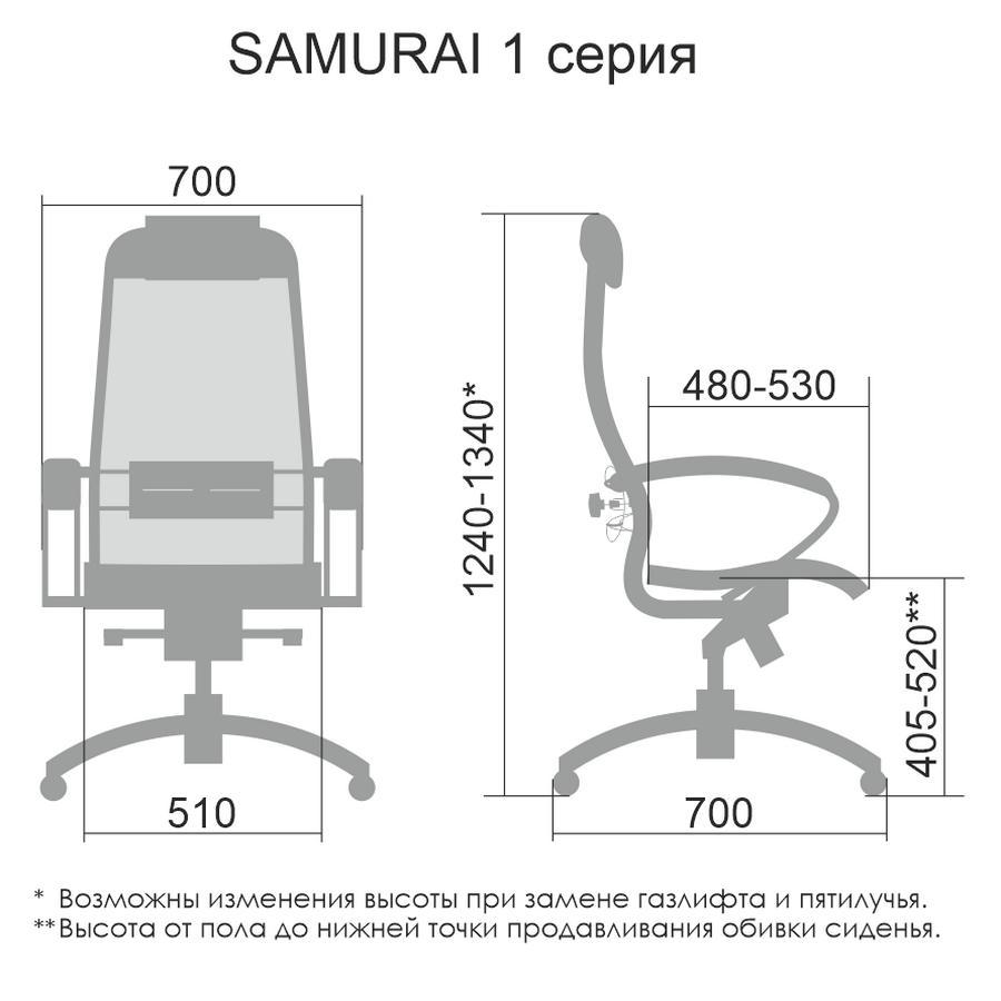 Размеры кресла Samurai S-1.041