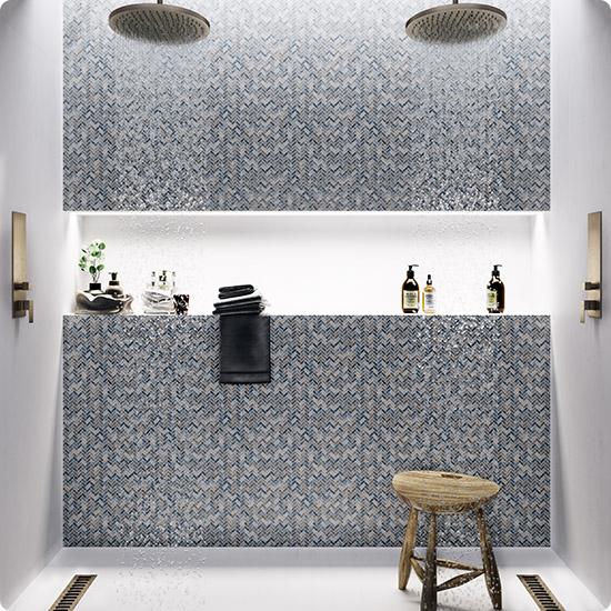 Мозаика с перламутром на стене в ванной арт. AHB-03