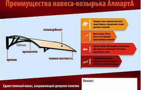 Новые пластиковые козырьки Almarta - максимальное качество, доступная цена.