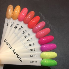 Неоны с шиммером - летняя коллекция Grattol Rainbow