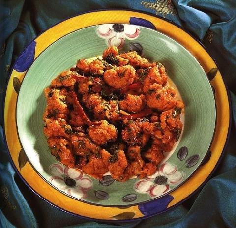 Готовое блюдо — Гоби джалфрези/ цветная капуста с томатами