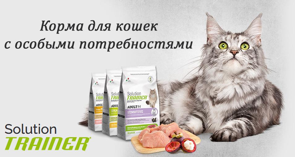 Новая линейка кормов супер-премиум класса Trainer SOLUTION для кошек
