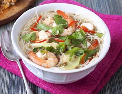 Готовое блюдо — Острый суп из морепродуктов