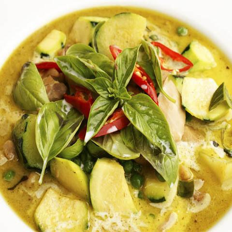 Готовое блюдо — Грибы и баклажаны в зеленом карри