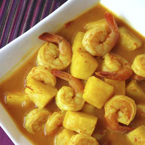 Готовое блюдо — Креветки с ананасами