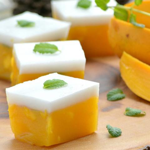 Готовое блюдо — Агаровый десерт из манго и кокоса