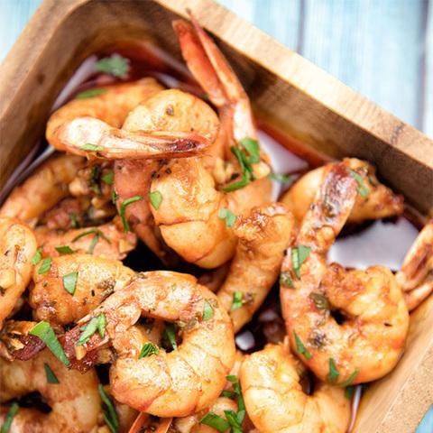 Готовое блюдо — Остро-сладкие креветки на воке
