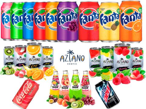 Сезон напитков. Американская газировка Fanta, Cola, Aziano, Mnt Dew в наличии.
