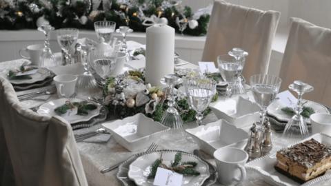 Сервировка новогоднего стола в год Белого Металлического Быка