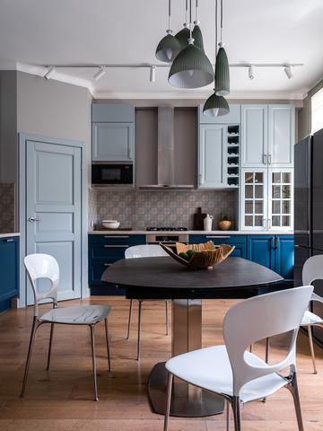 Московская квартира 90 м² в серо-голубых тонах