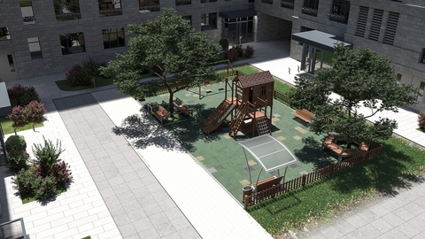 Modern playgrounds on the territories of the residential and premium class residential complex