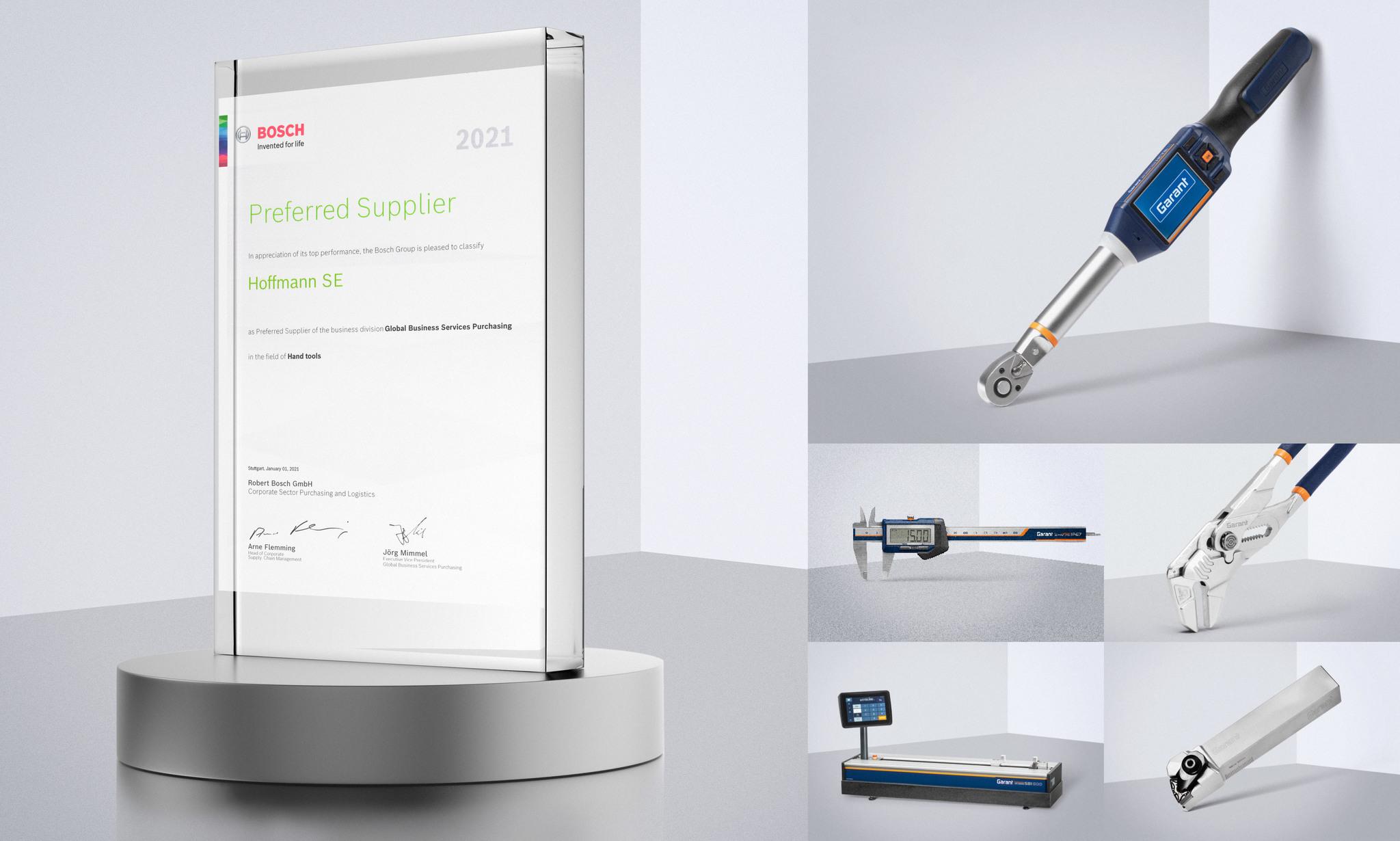 Hoffmann Group присвоен статус привилегированного поставщика 2021 года компании Bosch