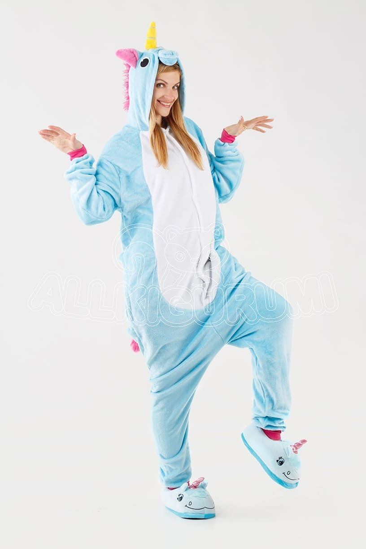 Обзор на пижаму кигуруми голубого единорога + фото