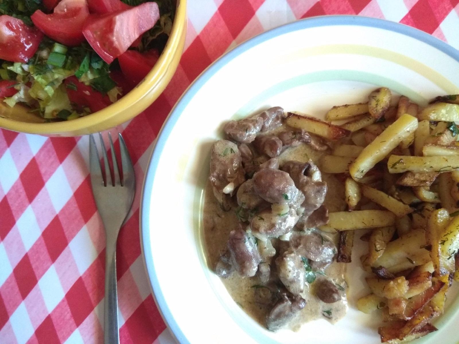 Куриное сердце в сырно-сливочном соусе