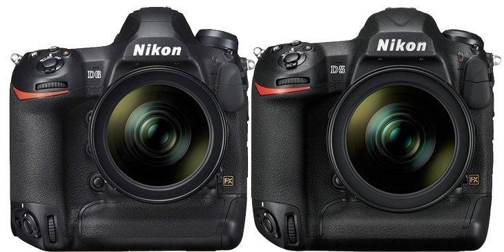 Сравение габаритов Nikon D5 vs Nikon D6