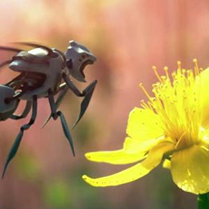 Летающий робот опыляет цветы