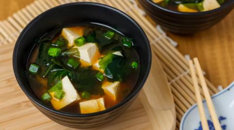 Острый суп с тофу и грибами