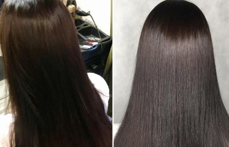 Темно-коричневая хна Khadi Natural - до и после