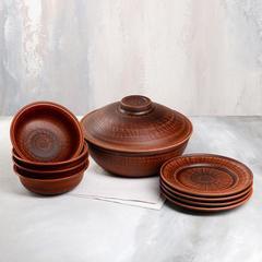Глиняный набор посуды