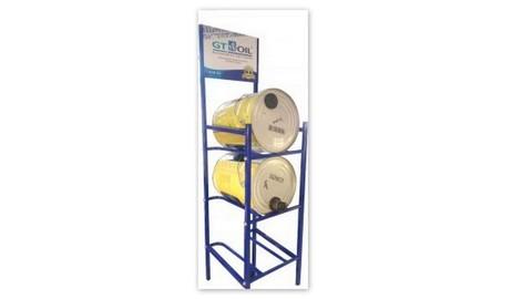Стеллажи для моторного масла в бочках, канистрах или  ведрах 20 литров
