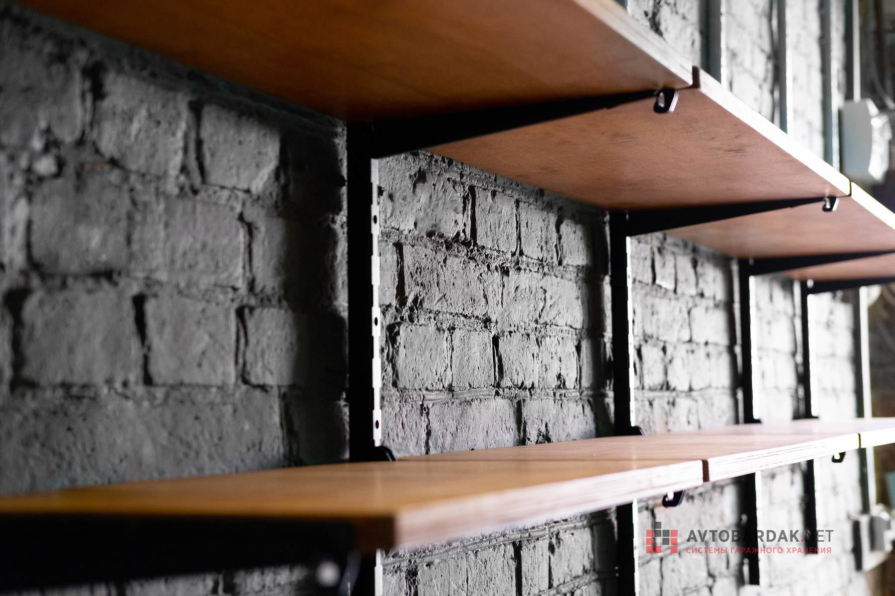 Деревянные полки. Три ряда полок длиной 1200 мм. Набор №41