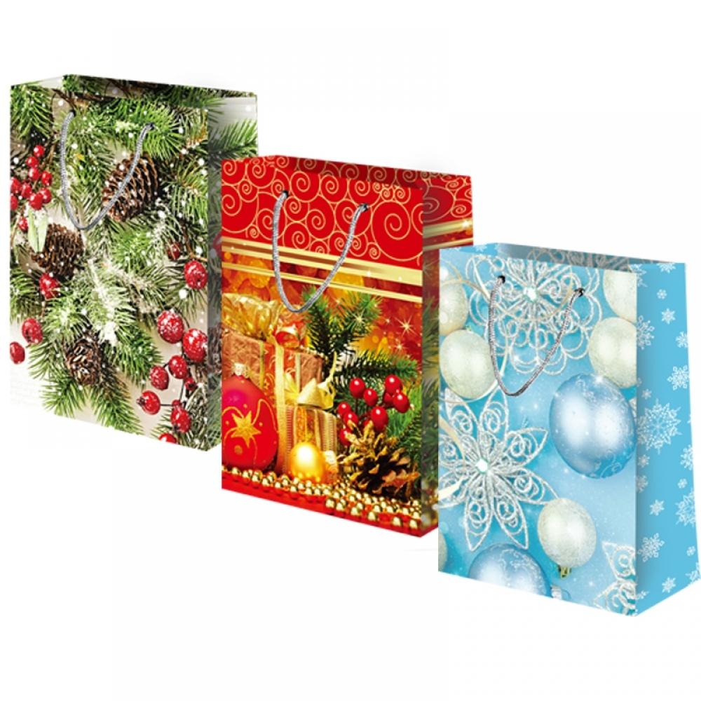 Бумажные подарочные пакеты с ручками НГ