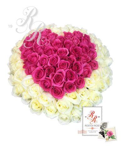 101 роза в форме сердца