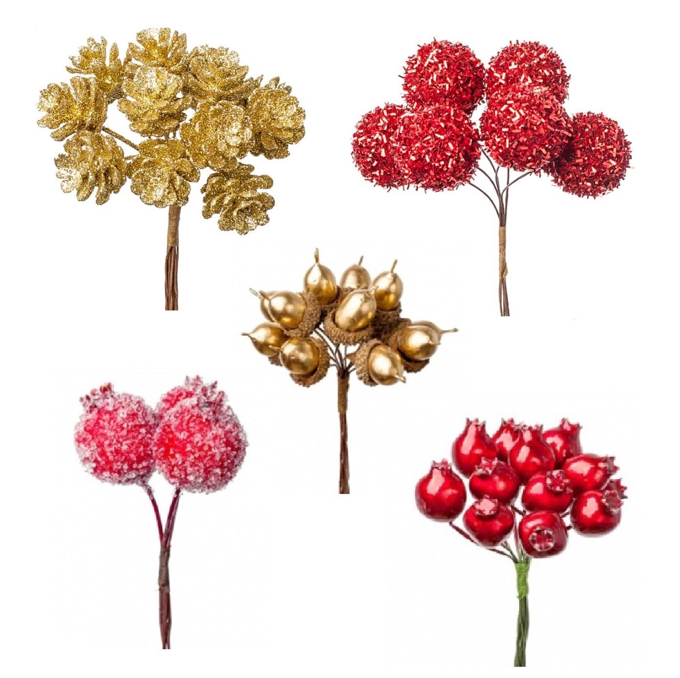 Новогодние декоративные вставки (шишки, ягоды, шарики)
