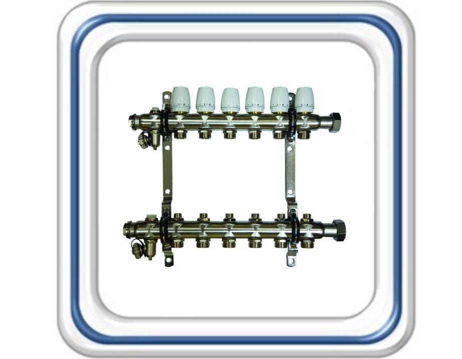 Коллекторная группа Millennium без расходомеров для присоединения радиаторов (из нерж. стали)