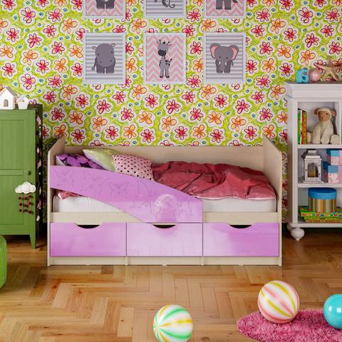 Кровать Бабочки сиреневый