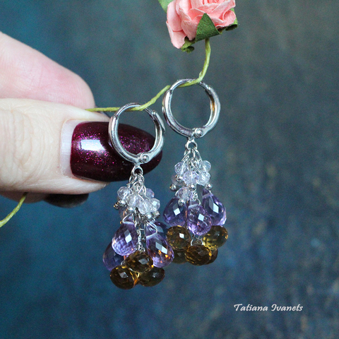 Серьги из натуральных камней аметиста и дымчатого кварца