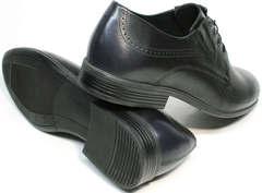 Броги туфли мужские синего цвета Ikos 3416-4 Dark Blue.