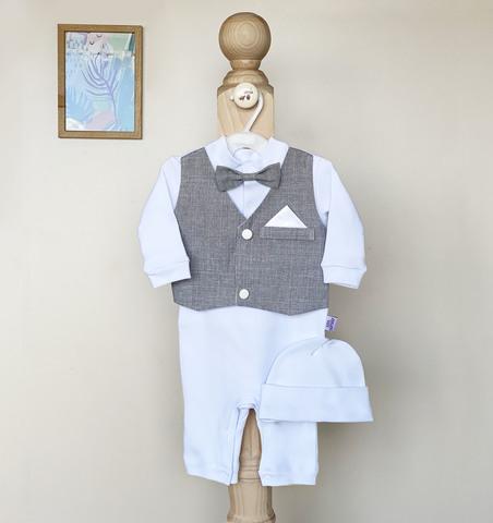 Нарядный набор на выписку и крестины новорожденных Джентльмен (серый)