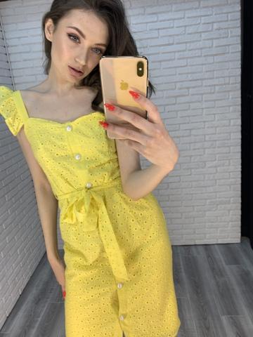 желтое платье с пуговицами интернет магазин