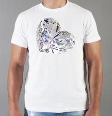 Футболка с принтом Бриллиант (с бриллиантами, с камнями, diamonds) белая 002