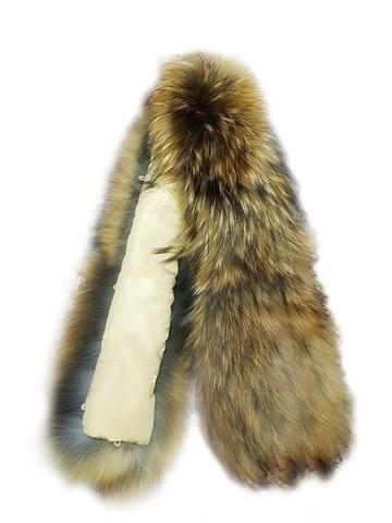 Опушка меховая на капюшон из натурального меха енот