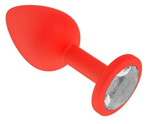 Красная анальная втулка с прозрачным кристаллом - 7,3 см.