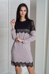 Агата. Оригинальное молодежное комбинированное платье. Пудра