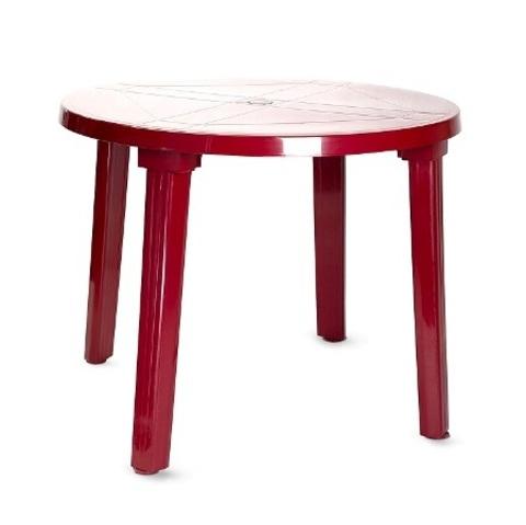 Пластиковый стол круглый бордовый