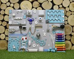 Бизиборд стандарт 50х65 см с ксилофоном Бирюзовый для мальчика